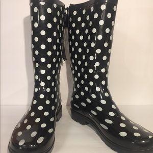 [Boutique] black white polka dot rain boots shoes